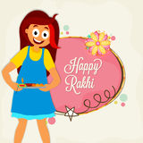 Cute Girl for Raksha Bandhan celebration. Cute Happy Girl preparing for Raksha Bandhan Festival. Elegant Greeting Card design for Indian Festival of Brothers Royalty Free Stock Photos