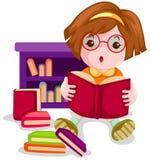 Cute girl reading book stock illustration