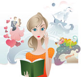 Cute Girl reading a Book Stock Images