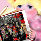 Cute girl reading a book. Raster illustration over a pink background, children illustration Stock Image