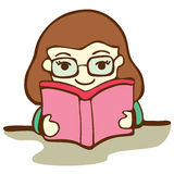 Cute Girl Reading Book Stock Images