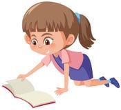 A cute girl reading a book vector illustration