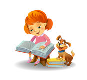 Cute girl reading book Stock Photography