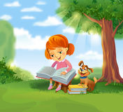 Cute girl reading book Stock Photos