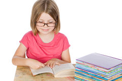 Cute Girl Reading her Books Royalty Free Stock Photography
