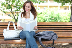 Cute Girl Reading at School Royalty Free Stock Photos