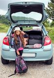 Girl ready for travel for summer vacation Royalty Free Stock Photography