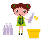 Cute girl recycle garbage into recycling bin. Girl with recycling bin isolated on white. Vector Illustration Royalty Free Stock Photos