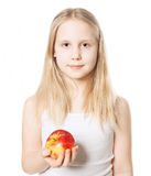 Cute Girl with red apple fruit. Healthy Eating Royalty Free Stock Photo