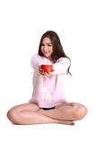 Cute girl with red coffee cup. Stock Photos