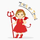Red Devil Holding a Trident, Halloween Cartoon Vector. Cute girl in red devil costume with her hand on waist and holding a trident. Halloween cartoon Royalty Free Stock Images
