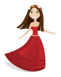 Cute girl in red dress Royalty Free Stock Photography