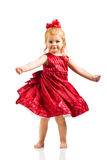 Cute Girl in red dress stock image
