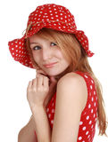 Cute girl with red dress and hat Stock Images