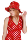 Cute girl with red dress and hat Royalty Free Stock Photography