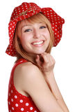 Cute girl with red dress and hat Royalty Free Stock Photo