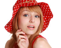Cute girl with red dress and hat Stock Photos