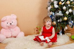 Cute girl in red dress. Cute little girl in red princess dress Stock Photography
