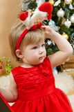 Cute girl in red dress. Portrait of cute little girl in red princess dress Stock Photography
