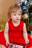 Cute girl in red dress. Portrait of cute little girl in red princess dress Royalty Free Stock Images