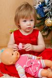 Cute girl in red dress. Portrait of cute little girl in red princess dress Stock Image