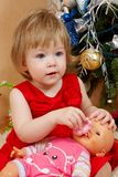 Cute girl in red dress. Portrait of cute little girl in red princess dress Royalty Free Stock Photos