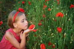 Cute girl in red dress walks at poppy field Stock Photos