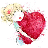 Cute girl with red heart. Valentine day. Royalty Free Stock Images