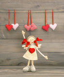 Cute Girl with Red Heart. Valentines Day decoration Stock Images