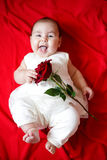 Cute girl with red rose Royalty Free Stock Photo