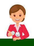 Cute girl in red suit throws dice on a game table. Casino games. Isolated vector illustration.  Stock Photos