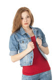 Cute girl in a red T-shirt with jacket Royalty Free Stock Photo