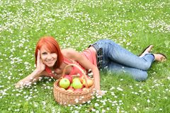 Cute girl relaxing Royalty Free Stock Photos