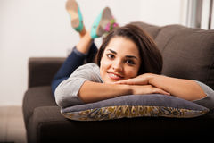 Cute girl relaxing at home Royalty Free Stock Images