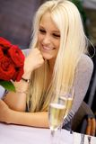Cute girl on restaurant Royalty Free Stock Photo