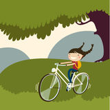 Cute girl ring bicycle. Vector illustration Royalty Free Stock Photo