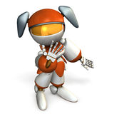 A cute girl robot is looking up. Royalty Free Stock Photography