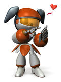 A cute girl robot is sending a message. Royalty Free Stock Image