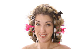 Cute girl in rollers Royalty Free Stock Image