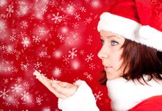 Cute girl in santa claus cloth Royalty Free Stock Photos