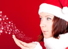 Cute girl in santa cloth Royalty Free Stock Photo