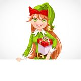 Cute girl Santa elf with gift hold big banner Royalty Free Stock Photos
