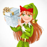 Cute girl Santa elf with gift Stock Photography