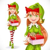 Cute girl Santa elf give a gift Stock Photography