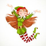 Cute girl Santa elf jump with joy Stock Image