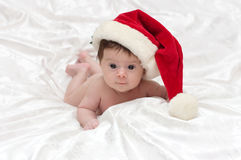 Cute girl with Santa hat Stock Photo