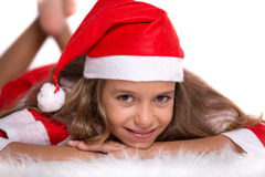Cute girl with Santa outfit Stock Photo