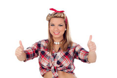 Cute girl saying Ok in pinup style Royalty Free Stock Images