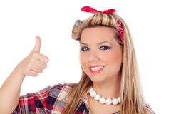 Cute girl saying Ok in pinup style Stock Image