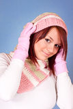 Cute girl in scarf and cap Royalty Free Stock Photo